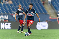 FOXBOROUGH, MA - AUGUST 5: Dennis Ramirez #37 of New England Revolution II dribbles during a game between North Carolina FC and New England Revolution II at Gillette Stadium on August 5, 2021 in Foxborough, Massachusetts.