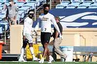 CHAPEL HILL, NC - NOVEMBER 14: Donavon Greene #7 of Wake Forest walks the field before a game between Wake Forest and North Carolina at Kenan Memorial Stadium on November 14, 2020 in Chapel Hill, North Carolina.