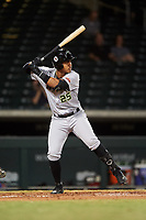 Peoria Javelinas Julio Rodriguez (25), of the Seattle Mariners organization, at bat during an Arizona Fall League game against the Mesa Solar Sox on September 21, 2019 at Sloan Park in Mesa, Arizona. Mesa defeated Peoria 4-1. (Zachary Lucy/Four Seam Images)