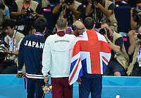 August 01, 2012..LtoR: Ryo Tateishi JPN Bronze, Daniel Gyurta HUN Gold and Michael Jamieson GBR Silver Medalist pose for a photograph at the conclusion of award ceremony for Men's 200m Breaststroke Final at the Aquatics Center on day five of 2012 Olympic Games in London, United Kingdom.