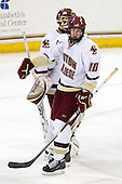 Parker Milner (BC - 35), Jimmy Hayes (BC - 10) - The Boston College Eagles defeated the Merrimack College Warriors 4-3 on Friday, October 30, 2009, at Conte Forum in Chestnut Hill, Massachusetts.