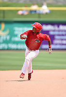 Clearwater Threshers shortstop Angelo Mora (3) during a game against the Dunedin Blue Jays on April 6, 2014 at Bright House Field in Clearwater, Florida.  Dunedin defeated Clearwater 5-2.  (Mike Janes/Four Seam Images)
