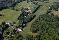aerial photograph of the aircraft maintenance facility and grass strip in Andersonville, Anderson County, Tennessee