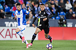 Mariano Diaz Mejia (r) of Real Madrid battles for the ball with Diego Rico of Deportivo Leganes during their La Liga match between Deportivo Leganes and Real Madrid at the Estadio Municipal Butarque on 05 April 2017 in Madrid, Spain. Photo by Diego Gonzalez Souto / Power Sport Images