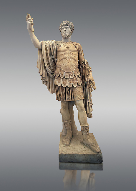 Roman marble sculpture with an unrelated head  of Lucius Verus, body 50-75 AD head 160-169 AD, inv 6081 Farnese Collection, Naples Museum of Archaeology, Italy