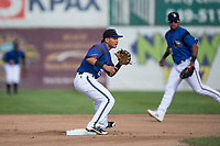 Missoula Osprey shortstop Brandon Leyton (12) covers second base on a stolen base attempt during a Pioneer League game against the Orem Owlz at Ogren Park Allegiance Field on August 19, 2018 in Missoula, Montana. The Missoula Osprey defeated the Orem Owlz by a score of 8-0. (Zachary Lucy/Four Seam Images)