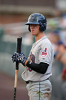 Mahoning Valley Scrappers third baseman Nolan Jones (10) on deck during the second game of a doubleheader against the Auburn Doubledays on July 2, 2017 at Falcon Park in Auburn, New York.  Mahoning Valley defeated Auburn 3-2.  (Mike Janes/Four Seam Images)