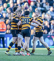 SCF2016 - RBAI vs Campbell College | Thursday 17th March 2016<br /> <br /> Yasser Omar, Ben McGavock and Callum Reid congratulate James Hume after he scored the winning try during the Ulster Schools Cup Final between RBAI and Campbell College at Kingspan Stadium, Ravenhill Park, Belfast, Northern Ireland. Photo credit: John Dickson / DICKSONDIGITAL