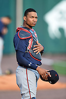 Gwinnett Braves catcher Christian Bethancourt (27) in the bullpen before a game against the Buffalo Bisons on May 13, 2014 at Coca-Cola Field in Buffalo, New  York.  Gwinnett defeated Buffalo 3-2.  (Mike Janes/Four Seam Images)