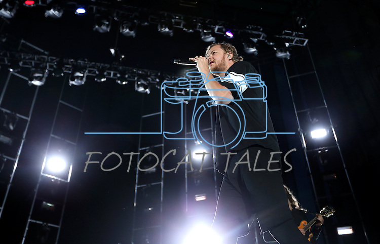 Imagine Dragons frontman Dan Reynolds performs at Harveys Lake Tahoe Outdoor Arena in Stateline, Nev., on Saturday, July 18, 2015. <br /> Photo by Cathleen Allison