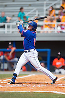 Dash Winningham (10) of the Kingsport Mets follows through on his swing against the Greeneville Astros at Hunter Wright Stadium on July 7, 2015 in Kingsport, Tennessee.  The Mets defeated the Astros 6-4. (Brian Westerholt/Four Seam Images)