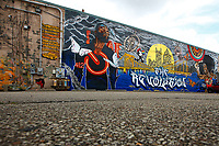 A Black Lives Matter mural is showcased on the side of Spirit in the Lawrenceville neighborhood  on Friday July 17, 2020 in Pittsburgh, Pennsylvania. (Photo by Jared Wickerham/Pittsburgh City Paper)