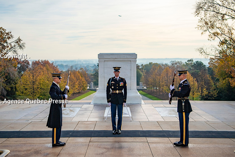 Tomb senitnels from the 3d U.S. Infantry Regiment (The Old Guard) conduct the Changing of the Guard Ceremony at the Tomb of the Unknown Soldier, Arlington National Cemetery, Arlington, Virginia, Nov. 11, 2019. (U.S. Army photo by Elizabeth Fraser / Arlington National Cemetery / released)
