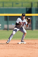 Salt River Rafters second baseman Travis Blankenhorn (5), of the Minnesota Twins organization, waits to receive a throw during an Arizona Fall League game against the Mesa Solar Sox at Sloan Park on October 30, 2018 in Mesa, Arizona. Salt River defeated Mesa 14-4 . (Zachary Lucy/Four Seam Images)