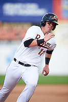 Bowie Baysox catcher Chance Sisco (12) running the bases during the second game of a doubleheader against the Akron RubberDucks on June 5, 2016 at Prince George's Stadium in Bowie, Maryland.  Bowie defeated Akron 12-7.  (Mike Janes/Four Seam Images)