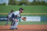 Salt River Rafters third baseman Lucas Erceg (16), of the Milwaukee Brewers organization, during a game against the Mesa Solar Sox on October 18, 2017 at Sloan Park in Mesa, Arizona. The Rafters defeated the Solar Sox 6-5. (Zachary Lucy/Four Seam Images)