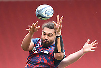 27th March 2021; Ashton Gate Stadium, Bristol, England; Premiership Rugby Union, Bristol Bears versus Harlequins; Chris Vui of Bristol Bears wins the lineout ball under pressure from Matt Symons of Harlequins