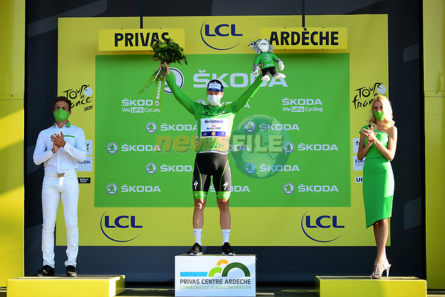 Irish Champion Sam Bennett (IRL) Deceuninck-Quick Step takes over the points Green Jersey at the end of Stage 5 of Tour de France 2020, running 183km from Gap to Privas, France. 2nd September 2020.<br /> Picture: ASO/Alex Broadway | Cyclefile<br /> All photos usage must carry mandatory copyright credit (© Cyclefile | ASO/Alex Broadway)