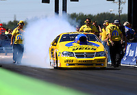 Sept. 22, 2013; Ennis, TX, USA: NHRA pro stock driver Jeg Coughlin during the Fall Nationals at the Texas Motorplex. Mandatory Credit: Mark J. Rebilas-