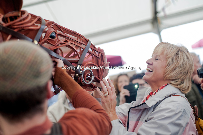 Friday 30 May 2014, Hay on Wye, UK<br /> Pictured: War Horse from the international hit play based on Michael Morpurgo's  novel. A ife-sized puppet horse is brought to life at the Hay festival<br /> Re: The Hay Festival, Hay on Wye, Powys, Wales UK.