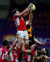 Photo: Richard Lane/Richard Lane Photography. London Welsh v London Wasps. 29/12/2012. Welsh's Kirill Kulemin wins a lineout.