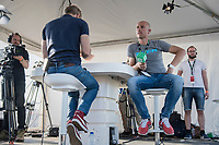 Sven Nys commentating in the course-side TV-studio after the race<br /> <br /> CX Super Prestige Zonhoven 2017