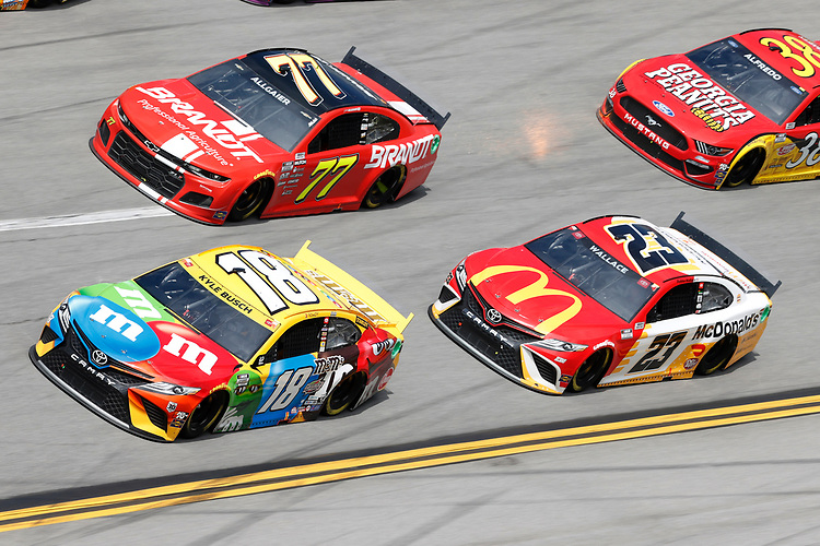 #18: Kyle Busch, Joe Gibbs Racing, Toyota Camry M&M's, #77: Justin Haley, Spire Motorsports, Chevrolet Camaro BRANDT, #23: Bubba Wallace, 23XI Racing, Toyota Camry McDonald's
