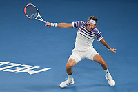 January 2, 2020: 5th seed DOMINIC THIEM (AUT) in action against 2nd seed NOVAK DJOKOVIC (SRB) on Rod Laver Arena in a Men's Singles Final match on day 14 of the Australian Open 2020 in Melbourne, Australia. Photo Sydney Low