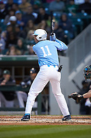 Cody Roberts (11) of the North Carolina Tar Heels at bat against the Charlotte 49ers at BB&T BallPark on March 27, 2018 in Charlotte, North Carolina. The Tar Heels defeated the 49ers 14-2. (Brian Westerholt/Four Seam Images)