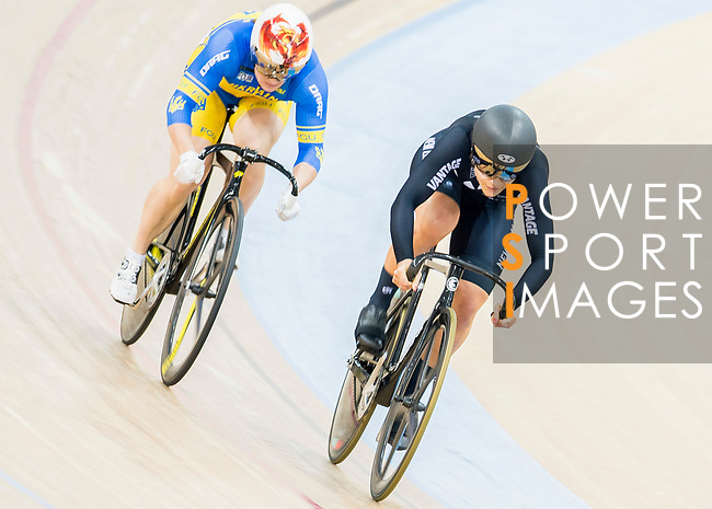 Natasha Hensen of New Zealand and Liubov Basova of Ukraine compete in the Women's Sprint - 1/8 Final as part of the 2017 UCI Track Cycling World Championships on 13 April 2017, in Hong Kong Velodrome, Hong Kong, China. Photo by Chris Wong / Power Sport Images