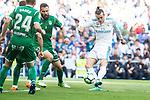 Real Madrid Gareth Bale and Leganes Dimitrios Siovas during La Liga match between Real Madrid and Leganes at Santiago Bernabeu Stadium in Madrid, Spain. April 28, 2018. (ALTERPHOTOS/Borja B.Hojas)