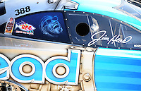 Sept. 5, 2010; Clermont, IN, USA; Detailed view of a Ray Charles painting on the side of the NHRA funny car driven by Jim Head during qualifying for the U.S. Nationals at O'Reilly Raceway Park at Indianapolis. Mandatory Credit: Mark J. Rebilas-