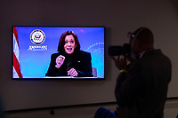 United States Vice President Kamala Harris is seen on a screen as she meets with women leader in Congress and advocacy organizations on the American Rescue Plan, during a virtual roundtable on the American Rescue Plan, at the Eisenhower Executive Office Building in Washington, DC on Thursday, February 18, 2021. The Rescue Plan includes direct payments to those in need, money to help reopen schools and extended unemployment benefits.<br /> CAP/MPI/RS<br /> ©RS/MPI/Capital Pictures