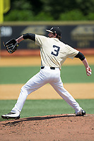 Wake Forest Demon Deacons starting pitcher Connor Johnstone (3) in action against the Pitt Panthers at David F. Couch Ballpark on May 20, 2017 in Winston-Salem, North Carolina. The Demon Deacons defeated the Panthers 14-4.  (Brian Westerholt/Four Seam Images)