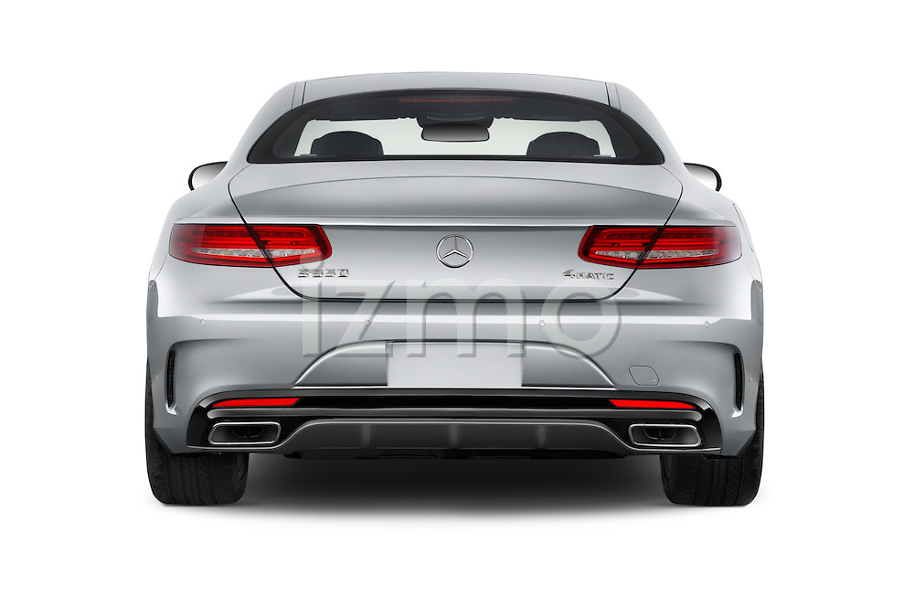 Straight rear view of a 2015 Mercedes Benz S-Class S550 2 Door Coupe Rear View  stock images
