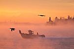 Seattle, Mount Rainier, Puget Sound, fishing boat, Washington State, sunrise, Salish Sea,