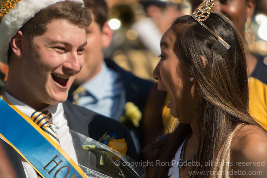 The Pitt homecoming king and queen react to being chosen. The North Carolina Wolfpack defeated the Pitt Panthers 35-17 at Heinz Field, Pittsburgh, PA on October 14, 2017.