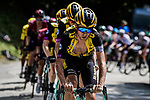 The peloton now led by Team Jumbo-Visma riding to get their leader Steven Kruijswijk (NED) on the final podium during Stage 20 of the 2019 Tour de France running 59.5km from Albertville to Val Thorens, France. 27th July 2019.<br /> Picture: ASO/Pauline Ballet | Cyclefile<br /> All photos usage must carry mandatory copyright credit (© Cyclefile | ASO/Pauline Ballet)