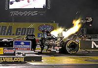 Apr. 5, 2013; Las Vegas, NV, USA: NHRA top fuel dragster driver David Grubnic during qualifying for the Summitracing.com Nationals at the Strip at Las Vegas Motor Speedway. Mandatory Credit: Mark J. Rebilas-