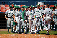 Dartmouth Big Green Sean Sullivan (4), Cole O'Connor (33), and Michael Calamari (3) after a game against the Bradley Braves on March 21, 2019 at Chain of Lakes Stadium in Winter Haven, Florida.  Bradley defeated Dartmouth 6-3.  (Mike Janes/Four Seam Images)
