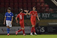 Conor Wilkinson of Leyton Orient celebrates scoring the winning goal during the EFL Trophy behind closed doors match between Leyton Orient and Brighton & Hove Albion Under 21s at the Matchroom Stadium, London, England played without supporters able to attend due to ongoing covid-19 government guidelines on 8 September 2020. Photo by Vince  Mignott.