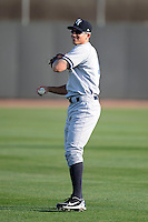 Tampa Yankees third baseman Carmen Angelini #11 warms up before a game against the Dunedin Blue Jays on April 11, 2013 at Florida Auto Exchange Stadium in Dunedin, Florida.  Dunedin defeated Tampa 3-2 in 11 innings.  (Mike Janes/Four Seam Images)