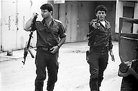 Israel, March and April 1987  ..A trip through Israel and its occupied territories during the first Intifada, Palestinian uprising in 1987..Israeli soldiers in the North close to border with Lebanon.  ..Photo Kees Metselaar