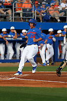 University of Florida Gators outfielder Austin Langworthy (44) crossing home plate during a game against the Siena Saints at Alfred A. McKethan Stadium in Gainesville, Florida on February 17, 2018. Florida defeated Siena 10-2. (Robert Gurganus/Four Seam Images)