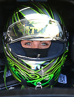 Feb 4, 2016; Chandler, AZ, USA; NHRA funny car driver Alexis DeJoria during pre season testing at Wild Horse Pass Motorsports Park. Mandatory Credit: Mark J. Rebilas-USA TODAY Sports