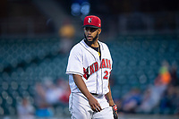 Indianapolis Indians starting pitcher Dario Agrazal (22) walks off the mound during an International League game against the Columbus Clippers on April 29, 2019 at Victory Field in Indianapolis, Indiana. Indianapolis defeated Columbus 5-3. (Zachary Lucy/Four Seam Images)
