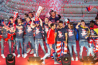 Atletico de Madrid celebrating Europa League Championship at Neptune Fountain in Madrid, Spain. May 18, 2018.  *** Local Caption *** © pixathlon<br /> Contact: +49-40-22 63 02 60 , info@pixathlon.de