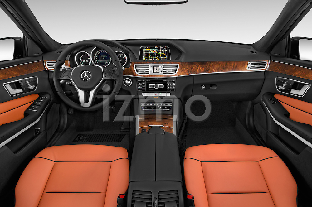 Stock photo of straight dashboard view of a 2015 Mercedes Benz E-Class E250 BlueTEC Luxury 4 Door Sedan