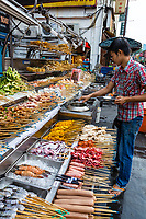 Street Food Stands, Late Afternoon, Jalan Sultan, Chinatown, Kuala Lumpur, Malaysia.
