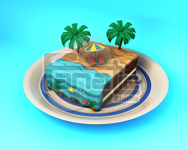 Illustrative image of cake with beach concept representing vacation